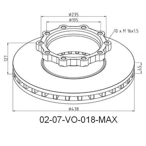 Disks bremžu d-438X45/ H127 VL-B10
