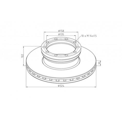 Disks bremžu d-324X30/H102 MAN 8.1