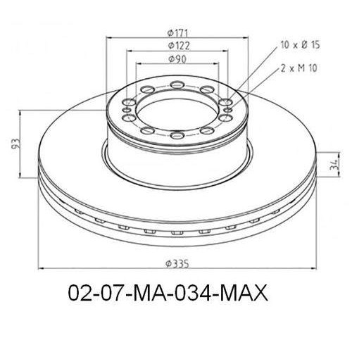 Disks bremžu d-335-H93 MAN-TGL