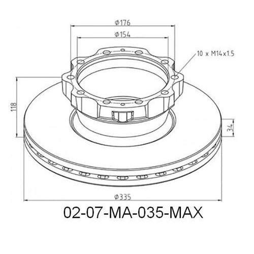 Disks bremžu d-335-H118 MAN-TGL