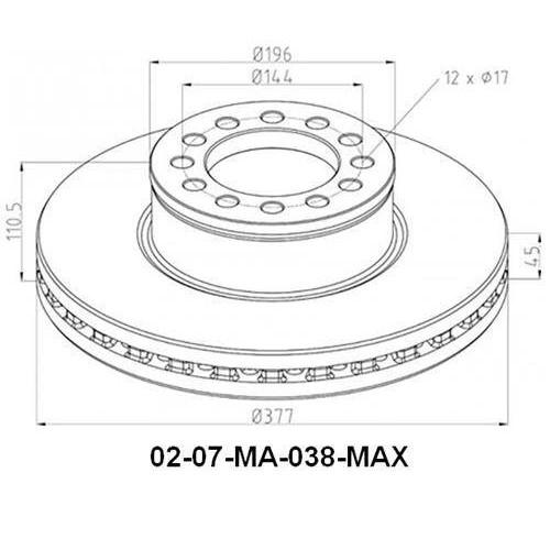 Disks bremžu d-377 MAN-TGM/ TGS